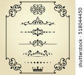 vintage set. floral elements... | Shutterstock .eps vector #518044450