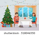 christmas room interior. family ... | Shutterstock .eps vector #518046550