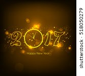 happy new year 2017 text design ... | Shutterstock .eps vector #518050279