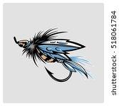 vector fluffy fly fishing hook   Shutterstock .eps vector #518061784