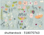 set with cute floral elements | Shutterstock .eps vector #518070763