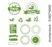 set of organic stamps  labels ... | Shutterstock .eps vector #518074000