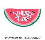 vector print with watermelon... | Shutterstock . vector #518090020
