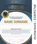 template of certificate of... | Shutterstock .eps vector #518092768