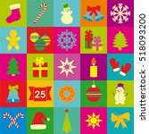 set of christmas and new year... | Shutterstock .eps vector #518093200