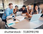 multiethnic group of young... | Shutterstock . vector #518098198