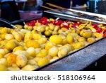 baked potatoes and colorful... | Shutterstock . vector #518106964