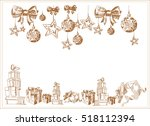 christmas decor. vector... | Shutterstock .eps vector #518112394