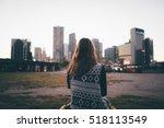 a traveler brunette girl is... | Shutterstock . vector #518113549