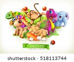 fairy tale animals. happy bunny ... | Shutterstock .eps vector #518113744