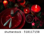 christmas table setting. low key | Shutterstock . vector #518117158