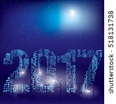 happy new year 2017 greeting... | Shutterstock .eps vector #518131738