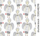 seamless pattern with flying... | Shutterstock .eps vector #518148298