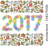 vector puzzle numbers 2017  and ... | Shutterstock .eps vector #518179330