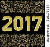 vector diamond numbers 2017 ... | Shutterstock .eps vector #518179354