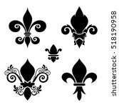 Vector Ink Set Of Fleur De Lis...