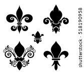 Vector Ink Set Of Fleur De Lis...