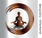 man meditate dark brown... | Shutterstock .eps vector #518195188