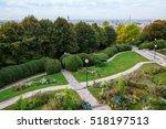 aerial view of the Parc de Belleville in Paris, France