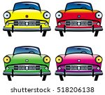 four colored old cars. raster... | Shutterstock . vector #518206138