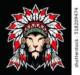 lion with war bonnet.  | Shutterstock .eps vector #518209474