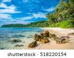 beautiful tropical island beach ... | Shutterstock . vector #518220154