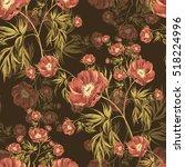 wild peony watercolor seamless... | Shutterstock . vector #518224996