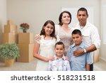 happy hispanic family in empty... | Shutterstock . vector #518231518