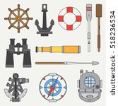 line color marine icons set... | Shutterstock .eps vector #518236534