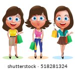 female shopping vector... | Shutterstock .eps vector #518281324