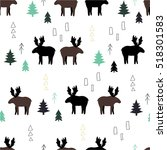 pattern with moose and trees.... | Shutterstock .eps vector #518301583
