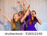 group of happy girls with... | Shutterstock . vector #518312140