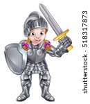 A Cartoon Knight Girl In Her...