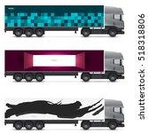 mockup truck or van. vehicles... | Shutterstock .eps vector #518318806