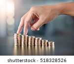 woman finger walking up stack... | Shutterstock . vector #518328526