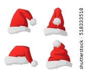 santa christmas hat vector... | Shutterstock .eps vector #518333518