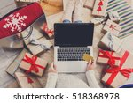 christmas online shopping top... | Shutterstock . vector #518368978