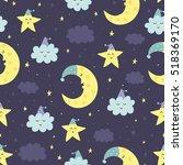 good night seamless pattern... | Shutterstock .eps vector #518369170