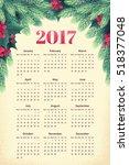 alendar for 2017 year with fir ... | Shutterstock .eps vector #518377048