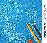 vector technical blueprint of... | Shutterstock .eps vector #518379994