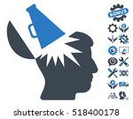open brain megaphone icon with...