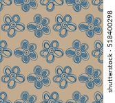 floral pattern blue and beige | Shutterstock .eps vector #518400298