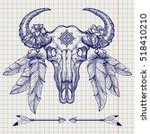 Hand Drawn Buffalo Skull Ball...