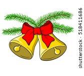 christmas golden bells with red ... | Shutterstock .eps vector #518411686