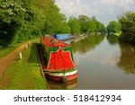moored colourful canal barges...