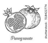 pomegranate fruit  berry.... | Shutterstock .eps vector #518422774