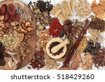 chinese herb selection used in... | Shutterstock . vector #518429260