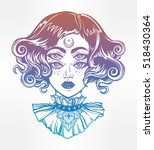 strange witch girl head... | Shutterstock .eps vector #518430364