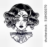 strange witch girl head... | Shutterstock .eps vector #518430370