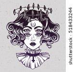 strange witch girl head... | Shutterstock .eps vector #518433244